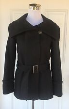 Comptoir Des Cotonniers Women's 34 Black Wool Cashmere Belted Wide Collar Coat