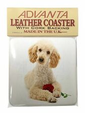 Poodle with Red Rose Single Leather Photo Coaster Animal Breed Gift, AD-CP7RSC