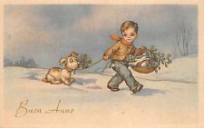 B95031 buon anno new year france child with dog clover mistletoe