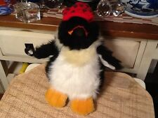 Penguin with Red CHRISTMAS Holiday Sock Cap Plush Animal COMMONWEALTH 1990 Korea