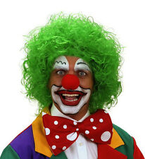 Mens Ladies Deluxe Curly Clown Wig Afro Colour Red White Green Blue Fancy Dress