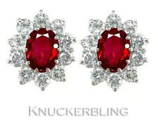 Ruby and Diamond Cluster Earrings 3.00ct, in 18ct Gold, with F Colour Diamonds