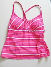 Adidas Womens Swim Striped Racerback Tankini Top Pink AW45B89 Sz 8 - NWT