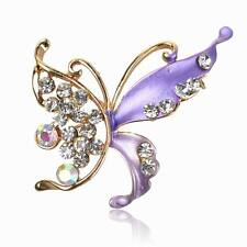 Hot Gemstone Diamante Butterfly Purple Enamel Breastpin Pin Brooch Bouquet Gift