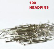 Flat Head Pins Silver Tone 35mm 100 pcs Jewellery Making Findings