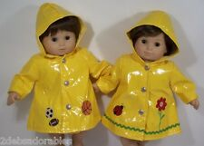 2 Matching YELLOW Raincoats Doll Clothes For Bitty Baby Twins (Debs)
