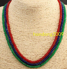 GENUINE TOP NATURAL 3 Rows 2X4mm FACETED Emerald Ruby&Sapphire BEADS NECKLACE
