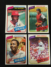 4 TOPPS 1980 VINTAGE BASEBALL CARDS CARLTON FISK, JOE MORGAN, ECKERSLEY, FOSTER