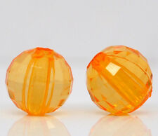 Lot 20 Perle Orange Facette Rond 8mm Acrylique Creation Bijoux collier, Bracelet