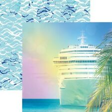 "CUSTOM SCRAPBOOK PAPER SET CRUISE SHIP TROPICAL TRAVEL VACATION 12"" X 12"" KIT"