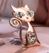 18K Rose Gold Plated Cat Pendant Necklace x SWAROVSKI CRYSTAL Chain Clear Women