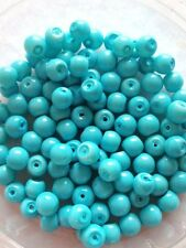 6mm Glass faux Pearls - Sky Blue Opaque (jewelry making) 100 round beads, craft