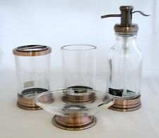HOTEL BALFOUR 4PC SET CLEAR GLASS+BROWN SOAP DISPENSER+DISH+TOOTHBRUSH+TUMBLER