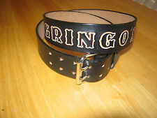 CUSTOM MADE LEATHER  BELT 1 3/4'' WIDE DOUBLE PRONG BUCKLE BLACK WITH YOUR NAME