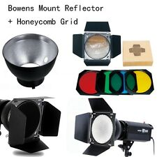 Godox Bowens Mount Reflector for Studio Flash + Barn Door Honeycomb Grid +Filter