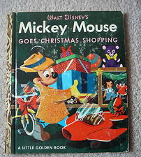 """LITTLE GOLDEN BOOK - MICKEY MOUSE GOES CHRISTMAS SHOPPING - 1953 Cpyrt - """"F"""" Prt"""