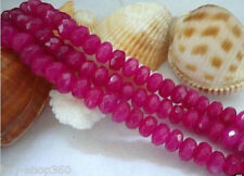 NEW 5x8mm Faceted Natural Brazilian Rose Red Ruby Gemstone Abacus Loose Beads 15