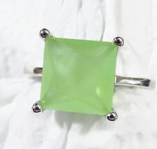 Sterling 925 Silver Filled Size 12 Ring 10*10mm Prehnite Gemstone
