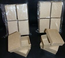 Lot of 12 Mini RECTANGLE 2 inch PAPER MACHE boxes jewelry trinket Rectangular