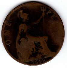 1899 QUEEN VICTORIA ONE PENNY 1d - BUN HEAD COIN (d)