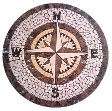 Floor Marble Round Medallion Compass Rose Tile Mosaic 36 inches