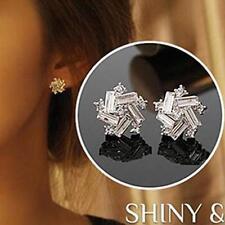 Korean Fashion Women Girl Silver Clear Crystal Windmill Screw Back Stud Earrings