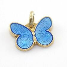 Vintage Sterling Silver Blue Enamel Small Butterfly Charm