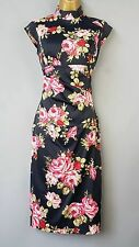 Karen Millen dress wiggle floral print oriental rose Mandarin Bodycon UK 8