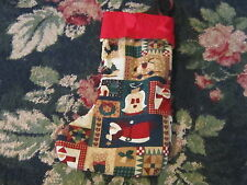 Charming country cottage chic homespun Christmas stocking angel Santa hearts 15""