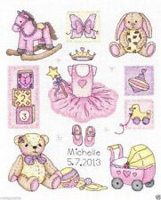 """Anchor Counted Cross Stitch kit 9"""" x 8"""" ~ GIRL Birth Record #38 Sale"""