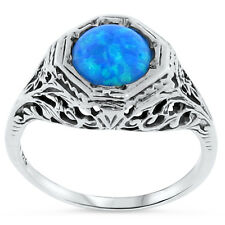 BLUE LAB OPAL ANTIQUE ART DECO STYLE 925 STERLING SILVER RING SIZE 9,  #106