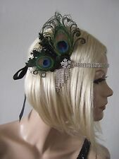 Black Peacock Feather Flapper Crystal Headband Fascinator Headpiece Gatsby Party