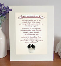 """Japanese Chin 10""""x8"""" Free Standing Thank You Poem Fun Novelty Gift FROM THE DOG"""