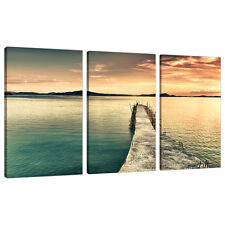 Set of Three Panel Teal Canvas Wall Art Pictures Landscapes Print 3108