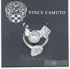 VINCE CAMUTO 'Glam Punk' Pave Crystal Rhodium-Tone Set of 3 Stackable Rings Sz 7