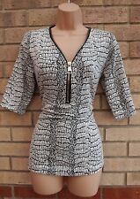 WHITE BLACK ZIP FRONT V NECK SNAKE SKIN ABSTRACT PRINT BLOUSE TUNIC TOP 12 14 M