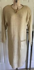 Halston mohair blend sweater dress beige with gold metallic flecks lg sleeves M