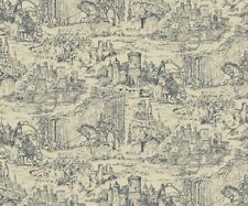 THROUGH THE AGES MEDIEVAL CASTLES JOUSTING HORSES ARMOUR KNIGHTS TOILE FABRIC