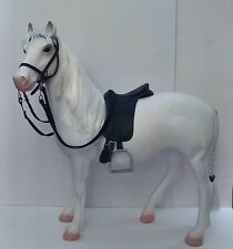 "Extra Large Plastic Horse in Dressage Tack. 20"" model white toy horse"