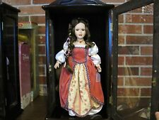 """ASHLEY BELLE PORCELAIN DOLL """"HOLLY"""" WITH COA ---- WOOD AND GLASS DISPLAY CASE"""
