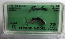 "VINTAGE NOS RUSSELURE FLYROD FISHING LURES IN TOUGH 1/2"" BLACK COLOR CASE FRESH"