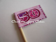 20 CUPCAKE FLAGS/TOPPERS - 50TH BIRTHDAY