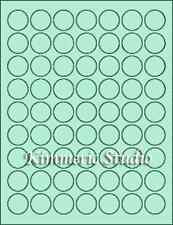 "6 SHEETS 1"" ROUND BLANK GREEN STICKERS LABELS CUSTOM"