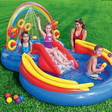 Intex Inflatable Rainbow Ring Water Play Center With Slide And Games | 57453EP