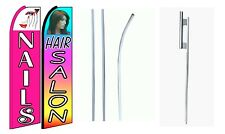 Nails  Hair Salon King Size  Swooper Flag Sign  W/Complete 2 Full Set