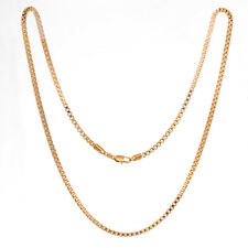 "Women Men 18K Gold Filled Box Chain Long Necklace Jewelry Gift 60cm 24"" Windshow"