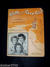 1944 RUM AND COCA-COLA SONG SHEET MUSIC FEATURING ANDREWS SISTERS DECCO RECORD