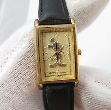 MICKEY MOUSE, Lorus, Classic Rectangle, Gold Emboss, RARE LADY'S/KIDS WATCH, 212