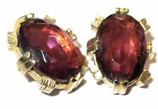 VINTAGE 1950's SPHINX PURPLE GLASS OPEN SET BEAD CLIP COSTUME JEWELLEY EARRINGS