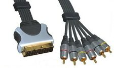 1.5m Scart Plug (Input) to (Output) 6x RCA Phono Plugs RGB Cable Gold Plated